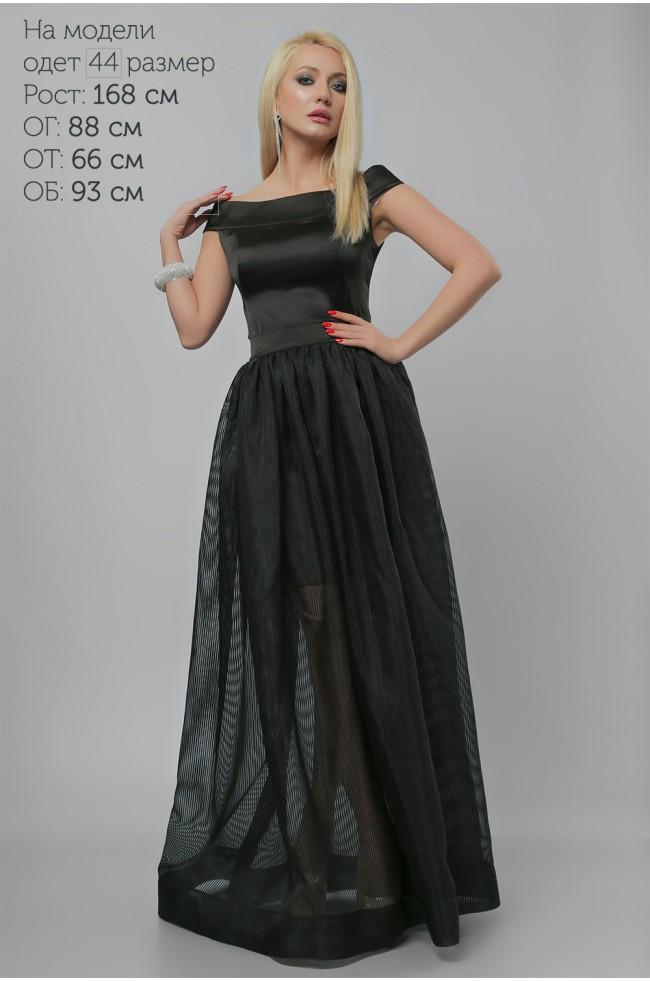 Сукня вечірня з спідницею із органзи Чорна