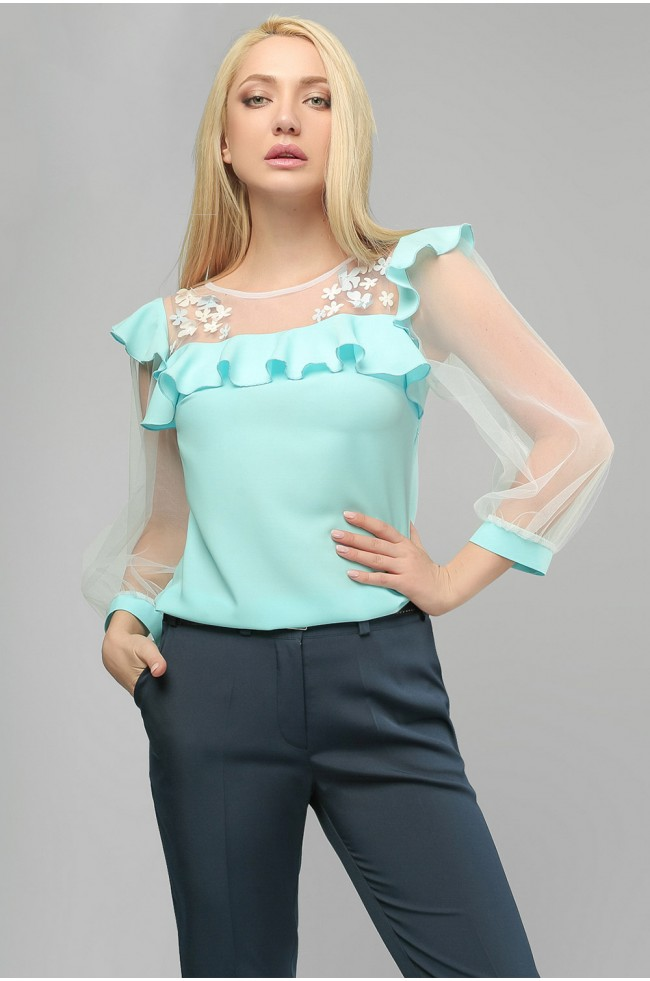 Блуза шовкова Блакитна