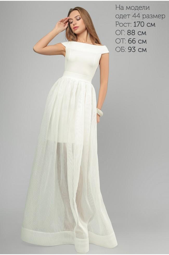 Сукня вечірня з спідницею з органзи Біла