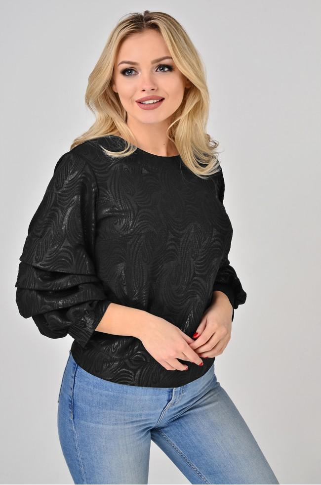 Блуза з буфами з фактурного трикотажу Чорна