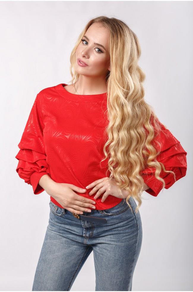 Блуза з буфами з фактурного трикотажу Червона