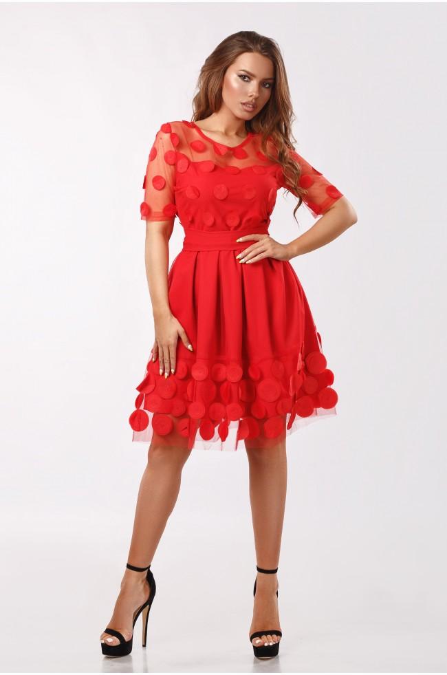 Сукня з декоративної сітки Червона