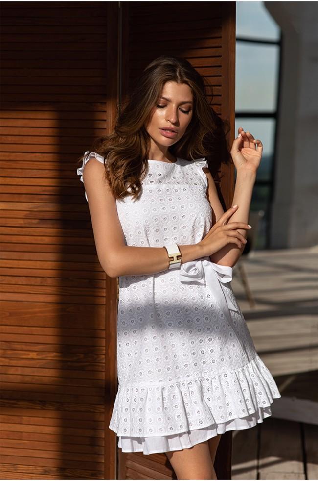 Сукня-безрукавка із прошви з воланами Біла