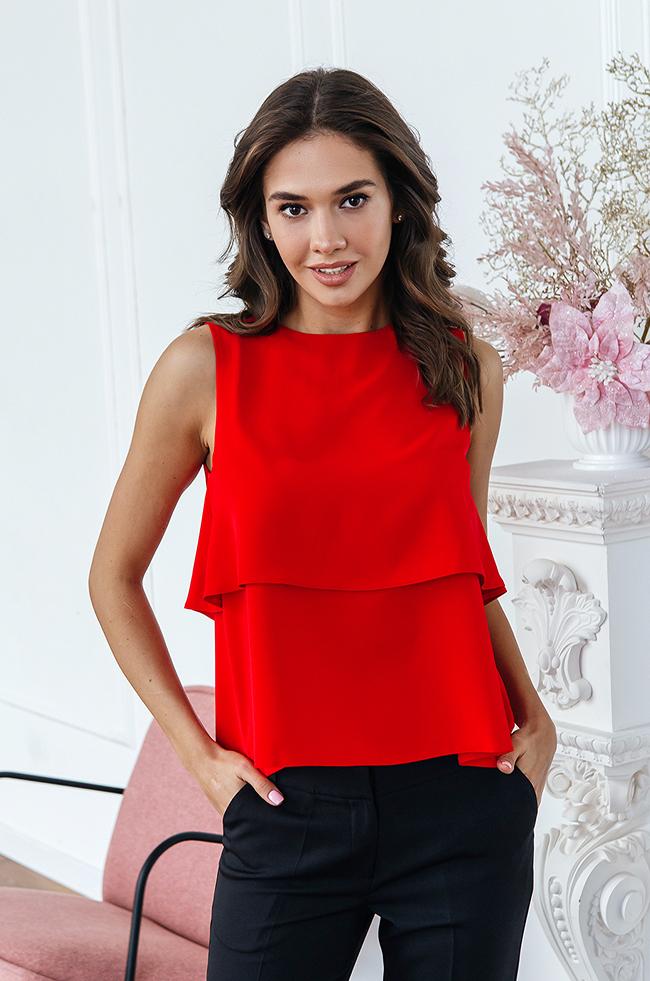Блуза-безрукавка двошарова Червона