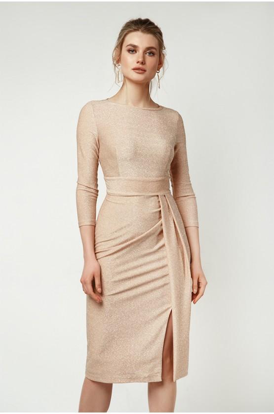 Сукня з асиметричними складками Персик