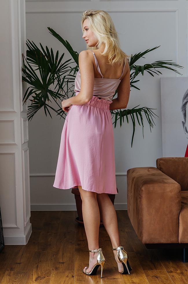 Спідниця із завищеною талією Рожева Plus Size