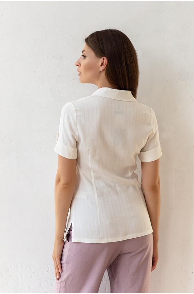 Блуза класика короткий рукав Біла