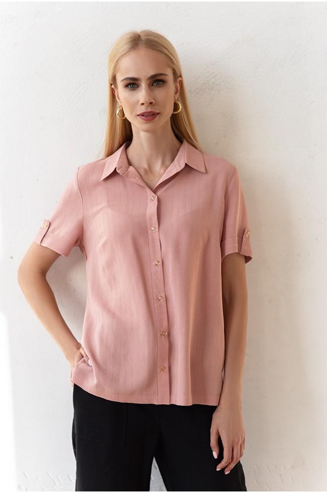 Блуза класика короткий рукав Пудра