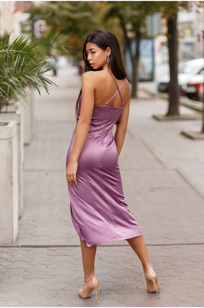 Сукня комбінація з розрізом Лілова