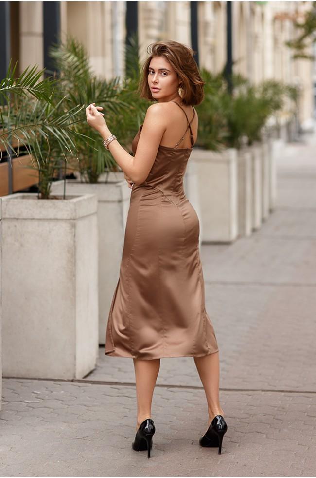 Сукня комбінація з розрізом Капучіно
