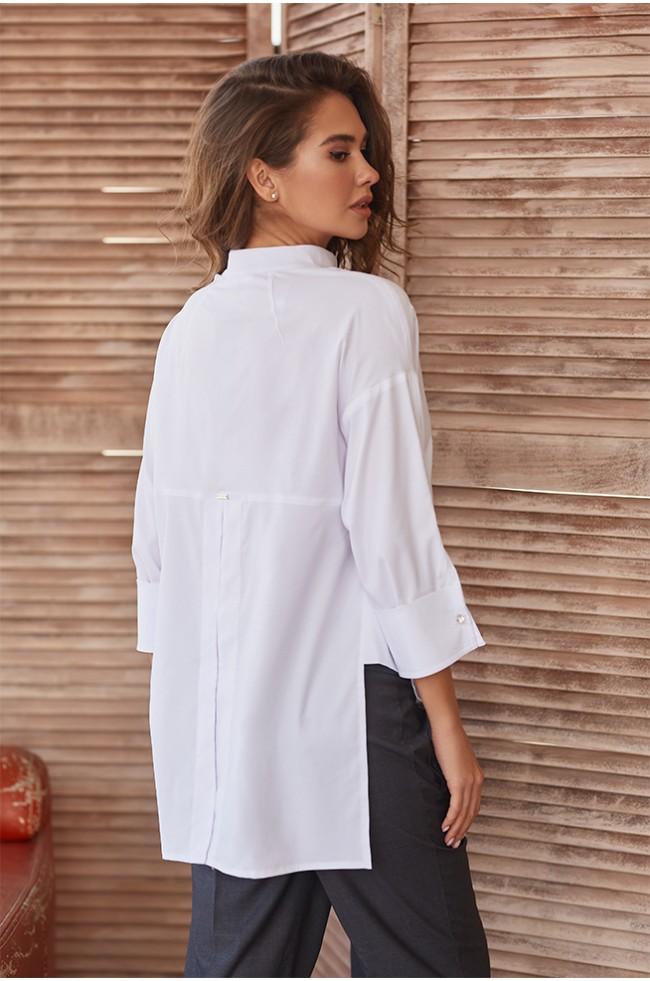 Блуза оверсайз зі спущеним плечем Біла