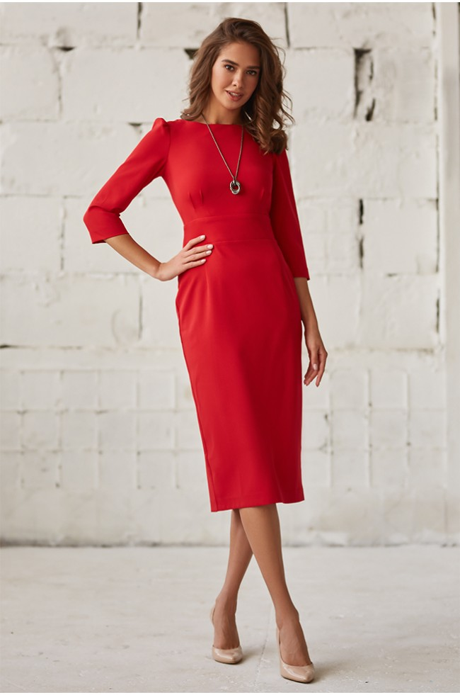 Сукня приталена класична Червона