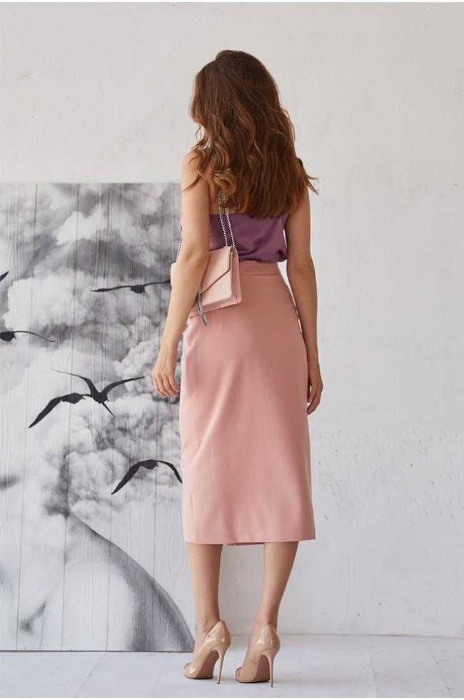 Спідниця з асиметричним розрізом Рожева