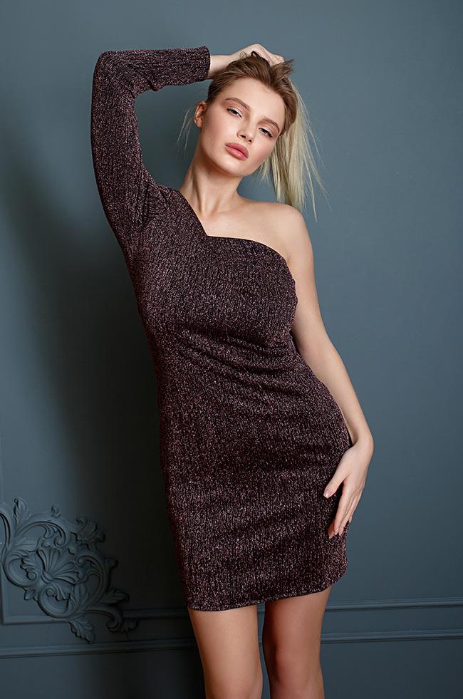 Сукня на одне плече з люрексом Бронза