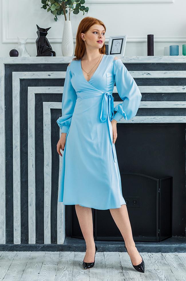 Сукня вечірня міді Блакитна