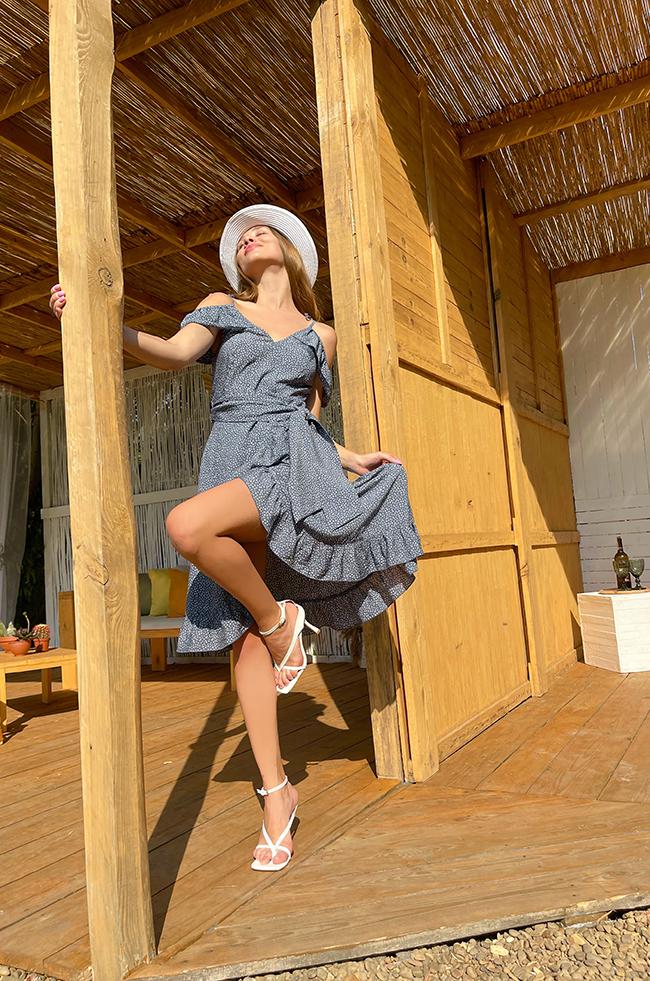 Сукня на запах з воланами Синя