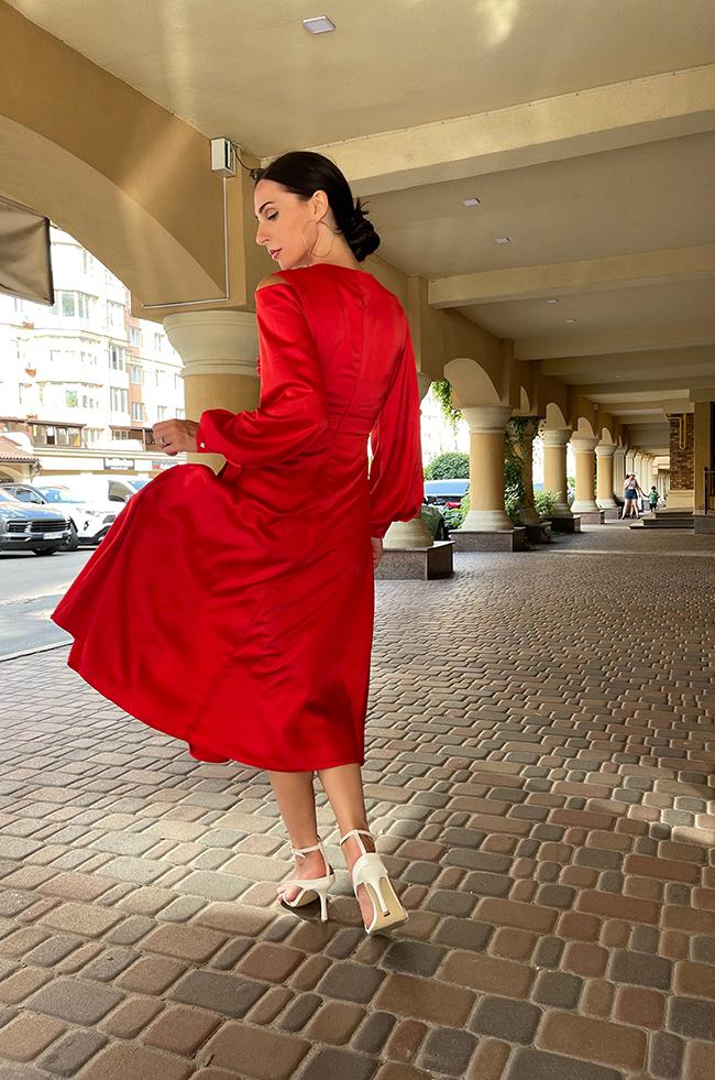 Сукня вечірня міді Червона