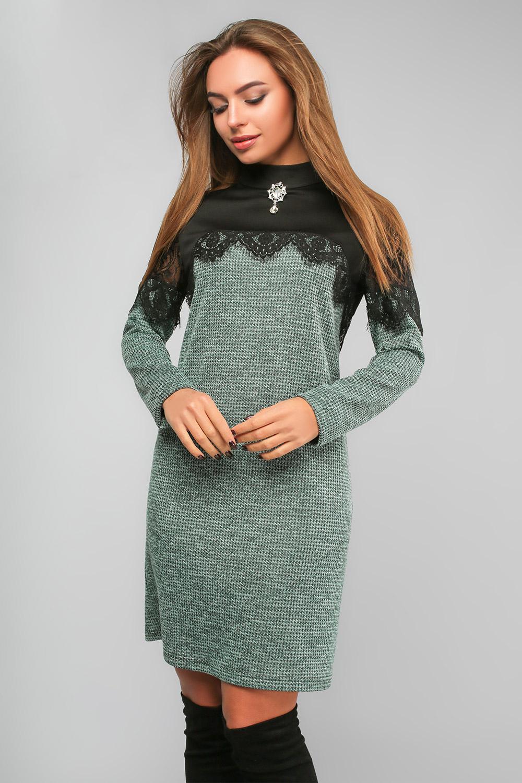 Сукня з мереживом та гіпюром Зелена Lipar