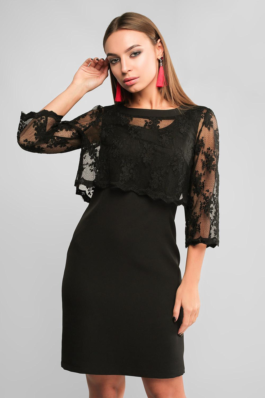 Сукня-футляр з накидкою Чорна Lipar