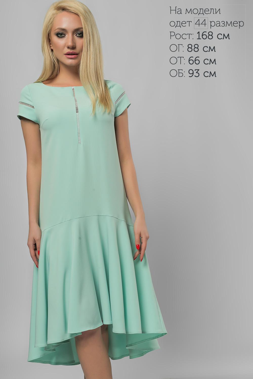 Сукня з асиметричним воланом М'ята Батал Lipar