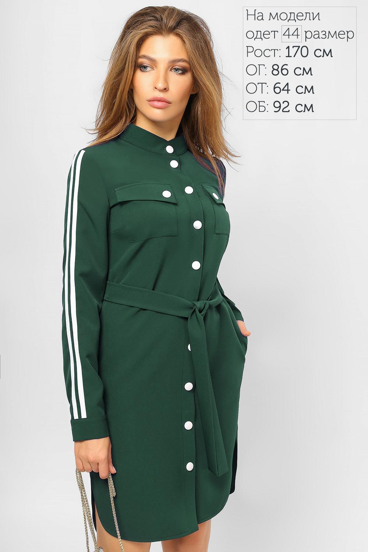 Сукня-сорочка з лампасами Зелена Батал Lipar