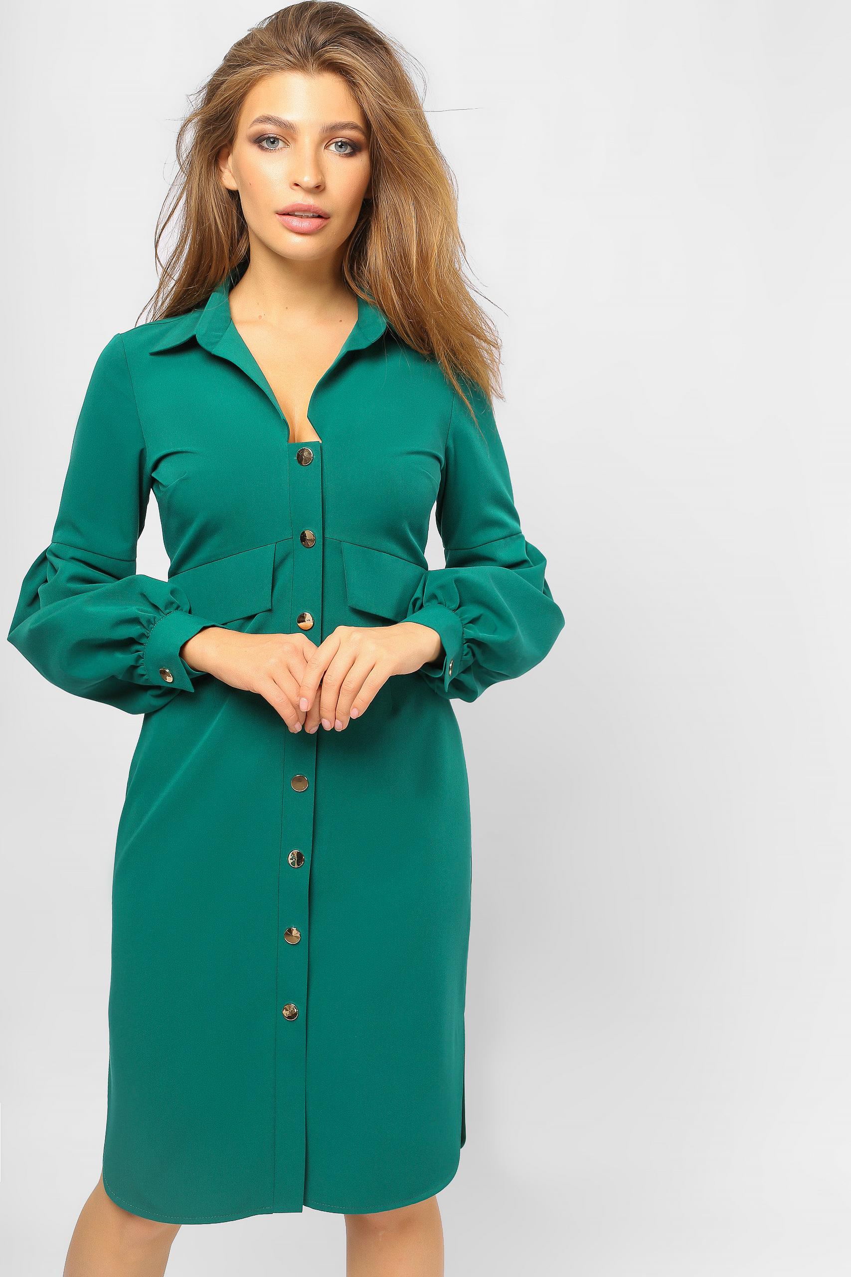 Сукня-сорочка з 'ліхтариками' Зелена Lipar