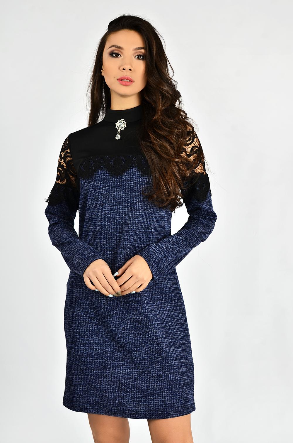 Сукня з мереживом та гіпюром Синя Lipar