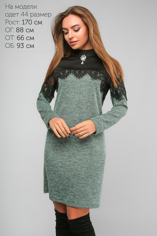 Сукня з мереживом та гіпюром Зелена Батал Lipar