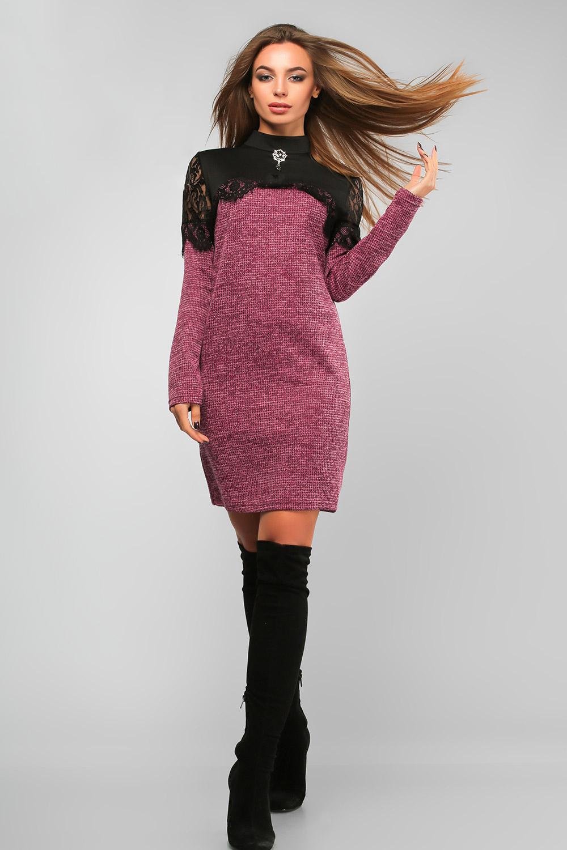 Сукня з мереживом та гіпюром Рожева Батал Lipar