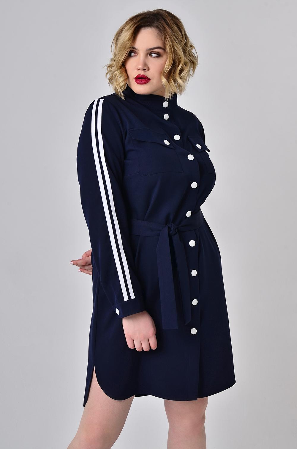 Сукня-сорочка з лампасами Синя Батал Lipar