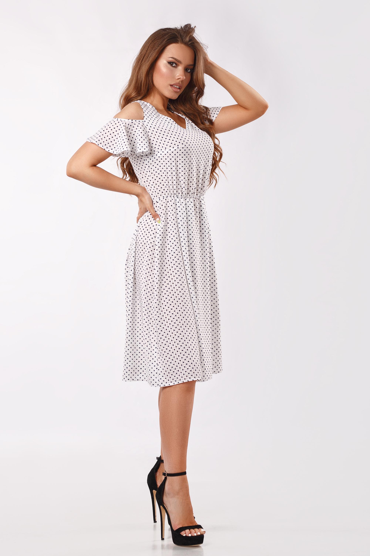 Платье синий горох Белая Батал Lipar