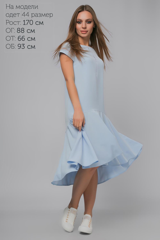 Сукня з асиметричним воланом Блакитна Lipar