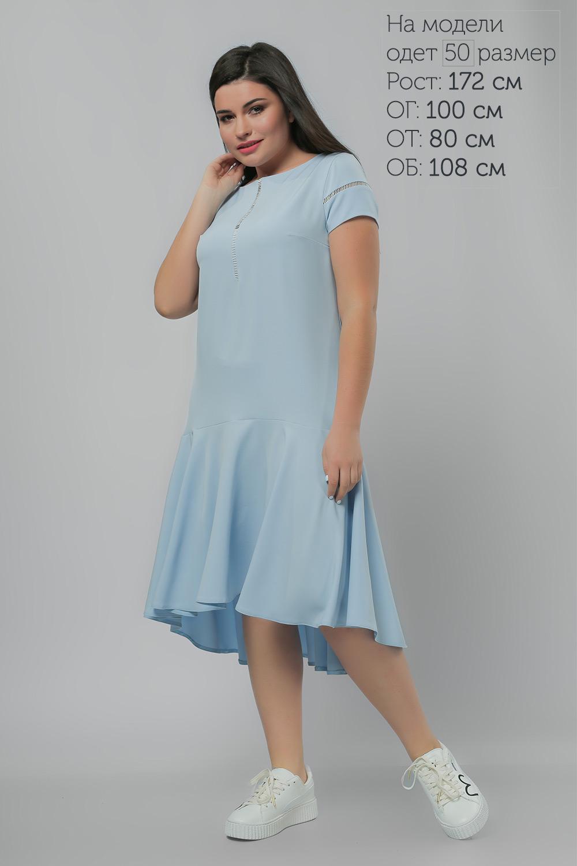 Сукня з асиметричним воланом Блакитна Батал Lipar