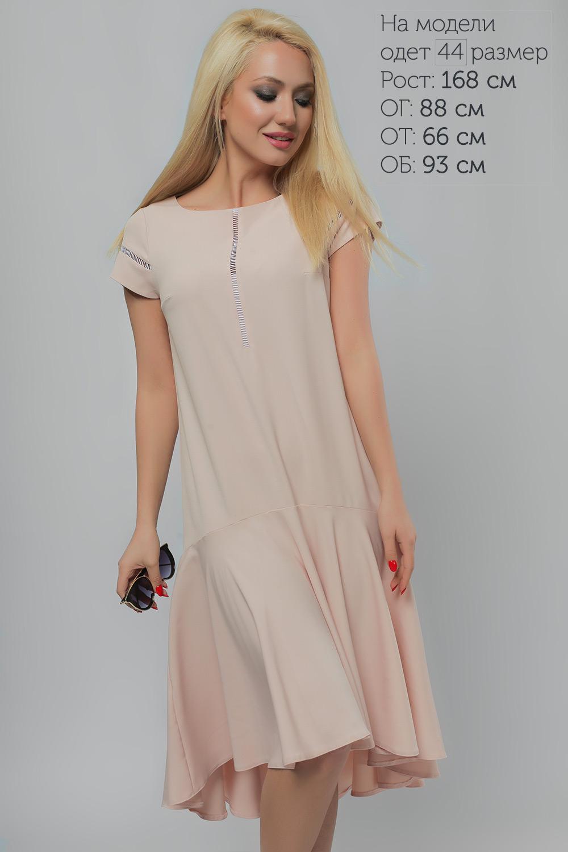 Сукня з асиметричним воланом Пудра Батал Lipar