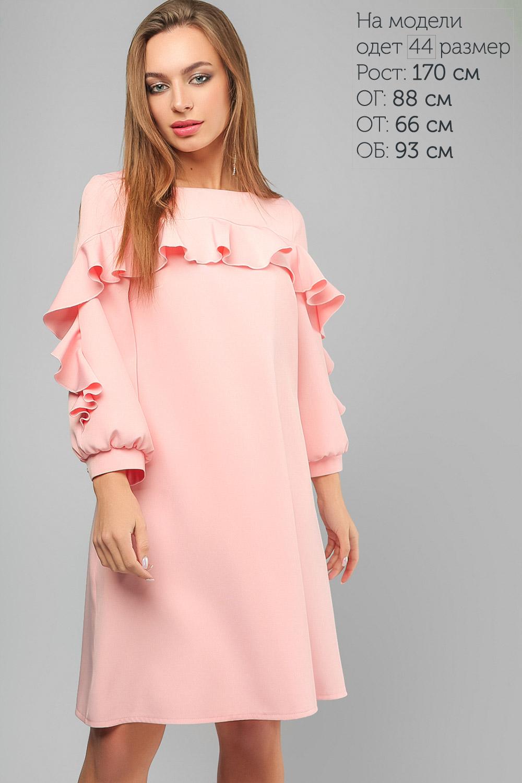 Сукня з декоративним воланом Пудра Lipar