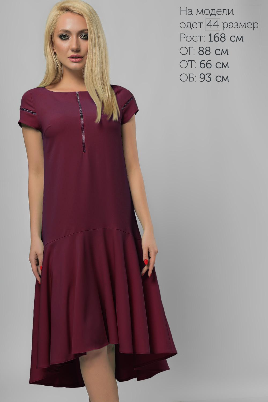 Сукня з асиметричним воланом Бордо Батал Lipar