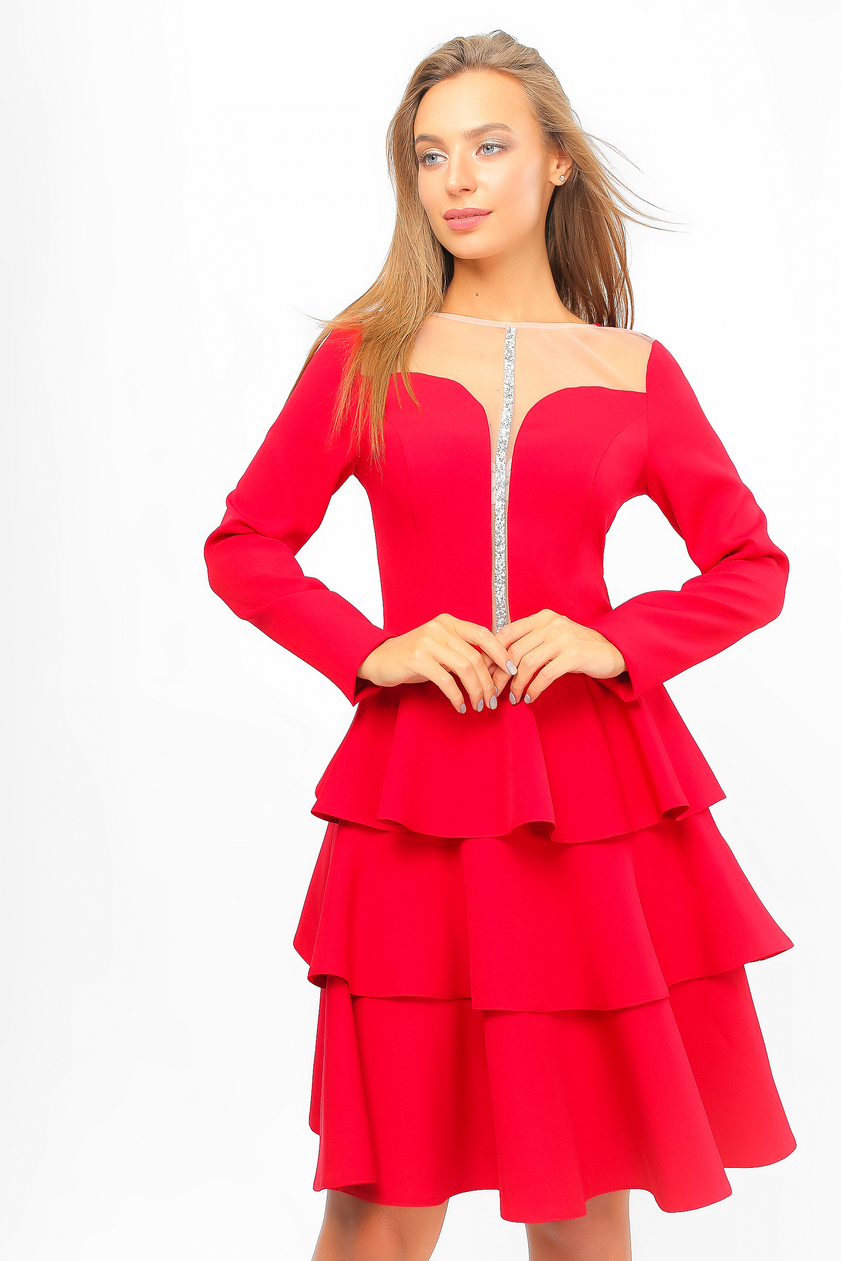 Сукня з воланами Червона Lipar