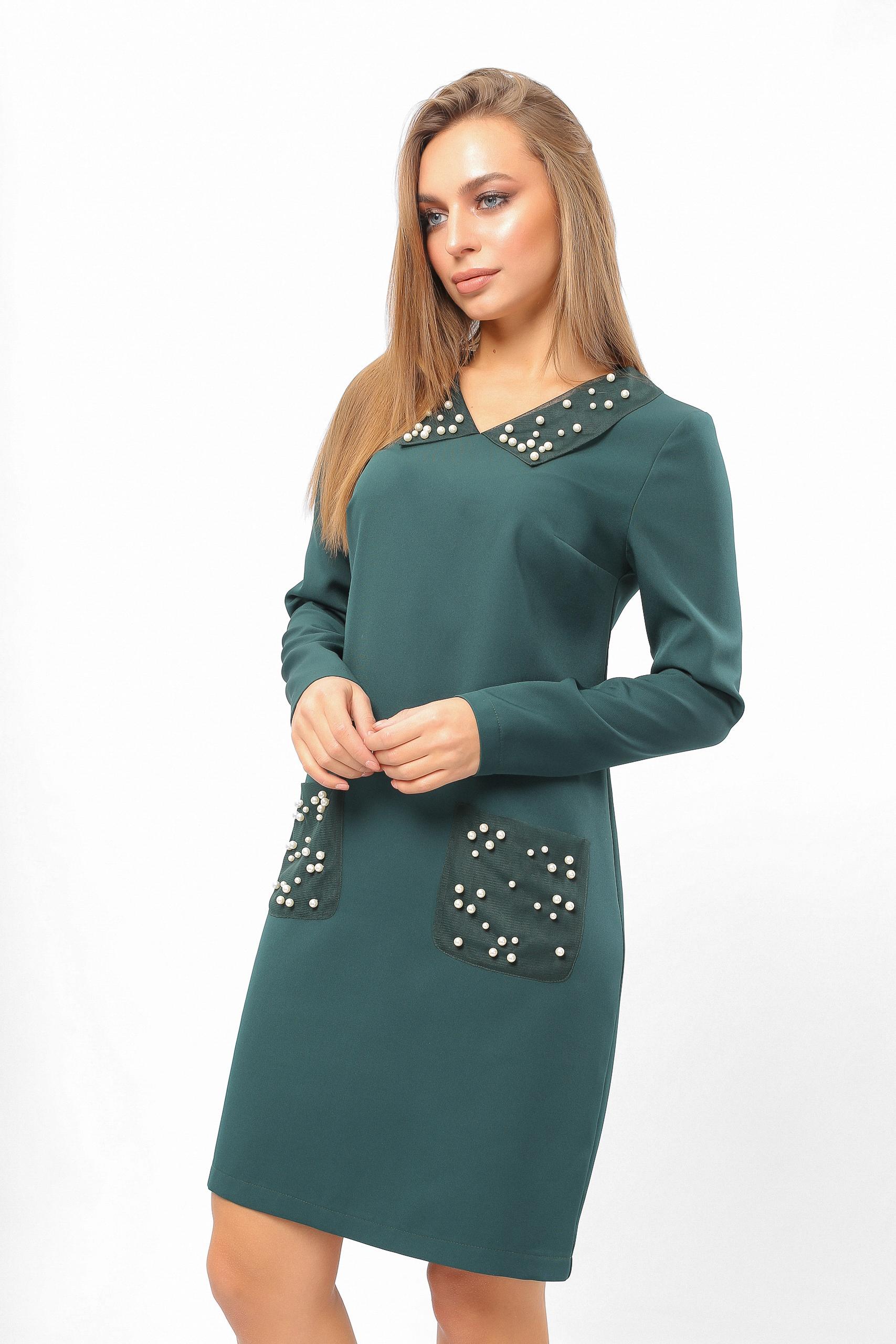 Сукня з перловими кишенями Зелена Lipar