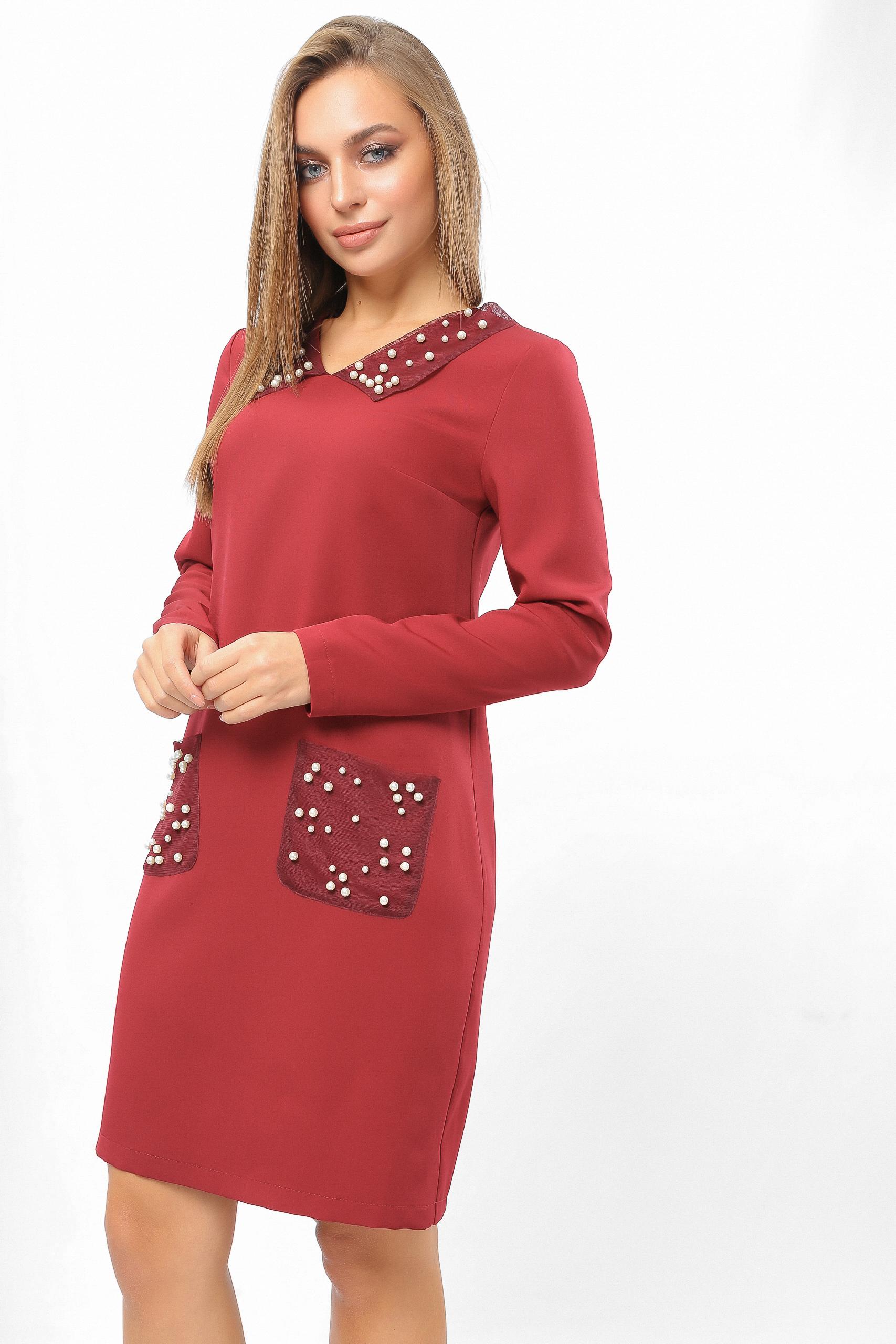 Сукня з перловими кишенями Бордо Lipar