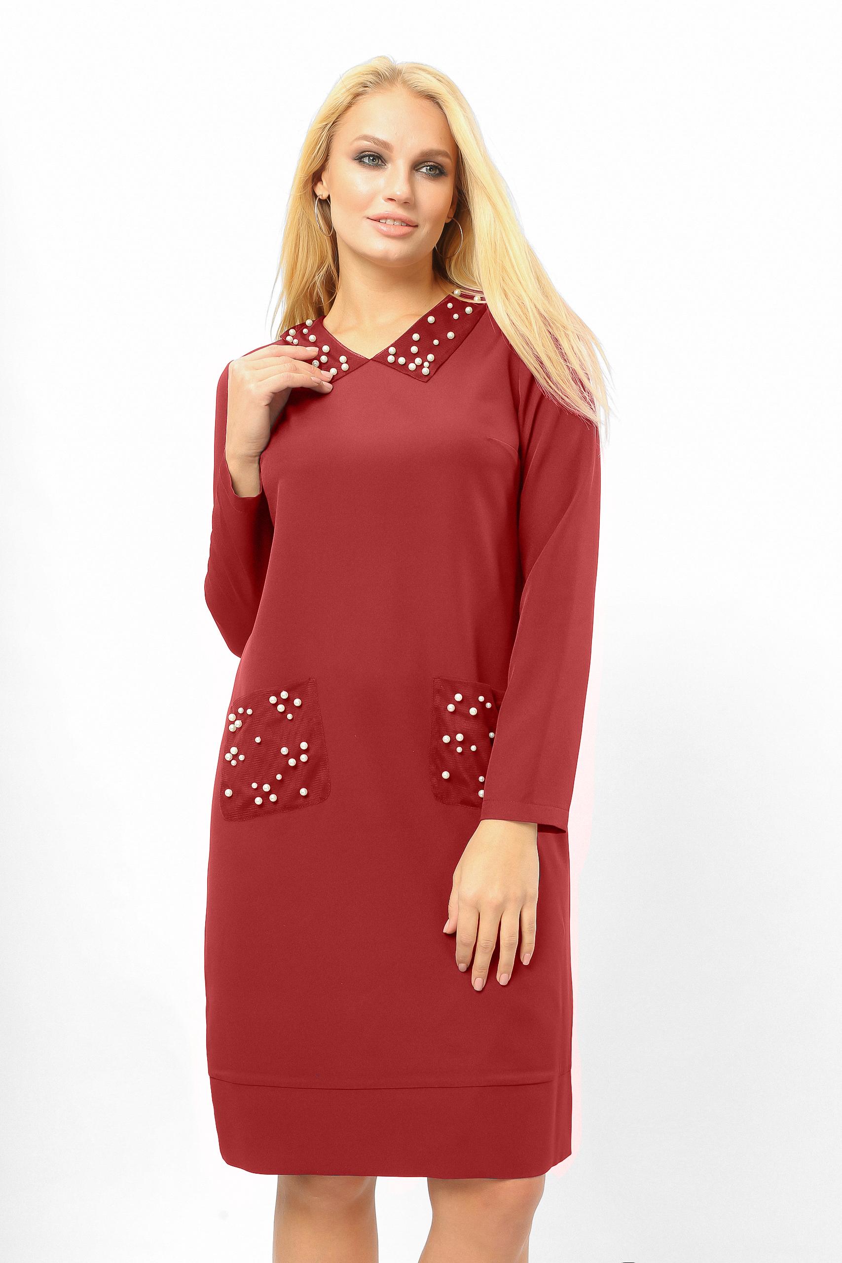 Сукня з перловими кишенями Бордо Батал Lipar