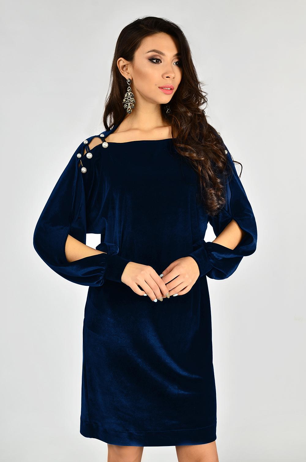 Сукня оксамитова Синя Lipar