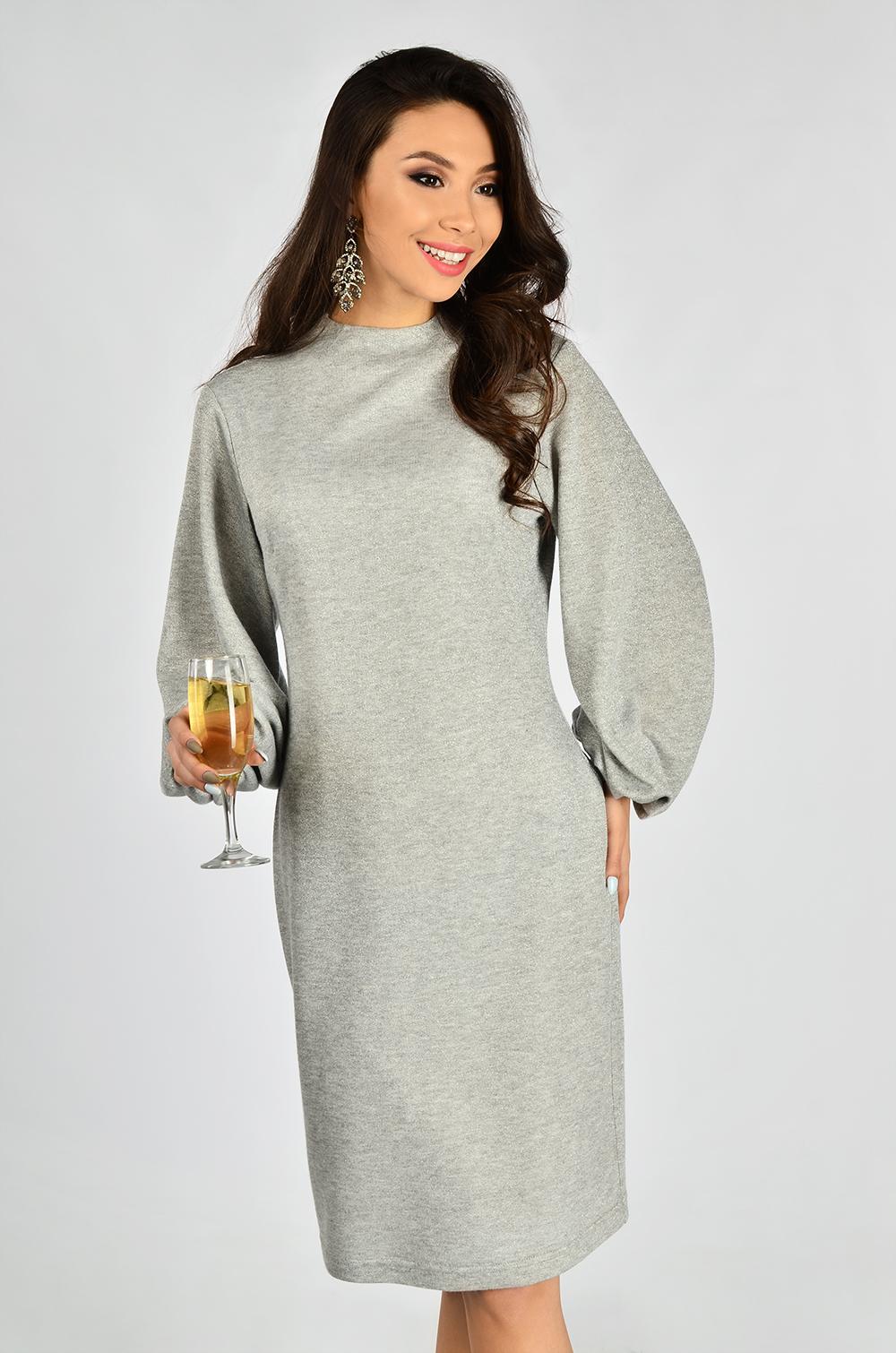 Сукня-футляр з люрексом Сіра Lipar