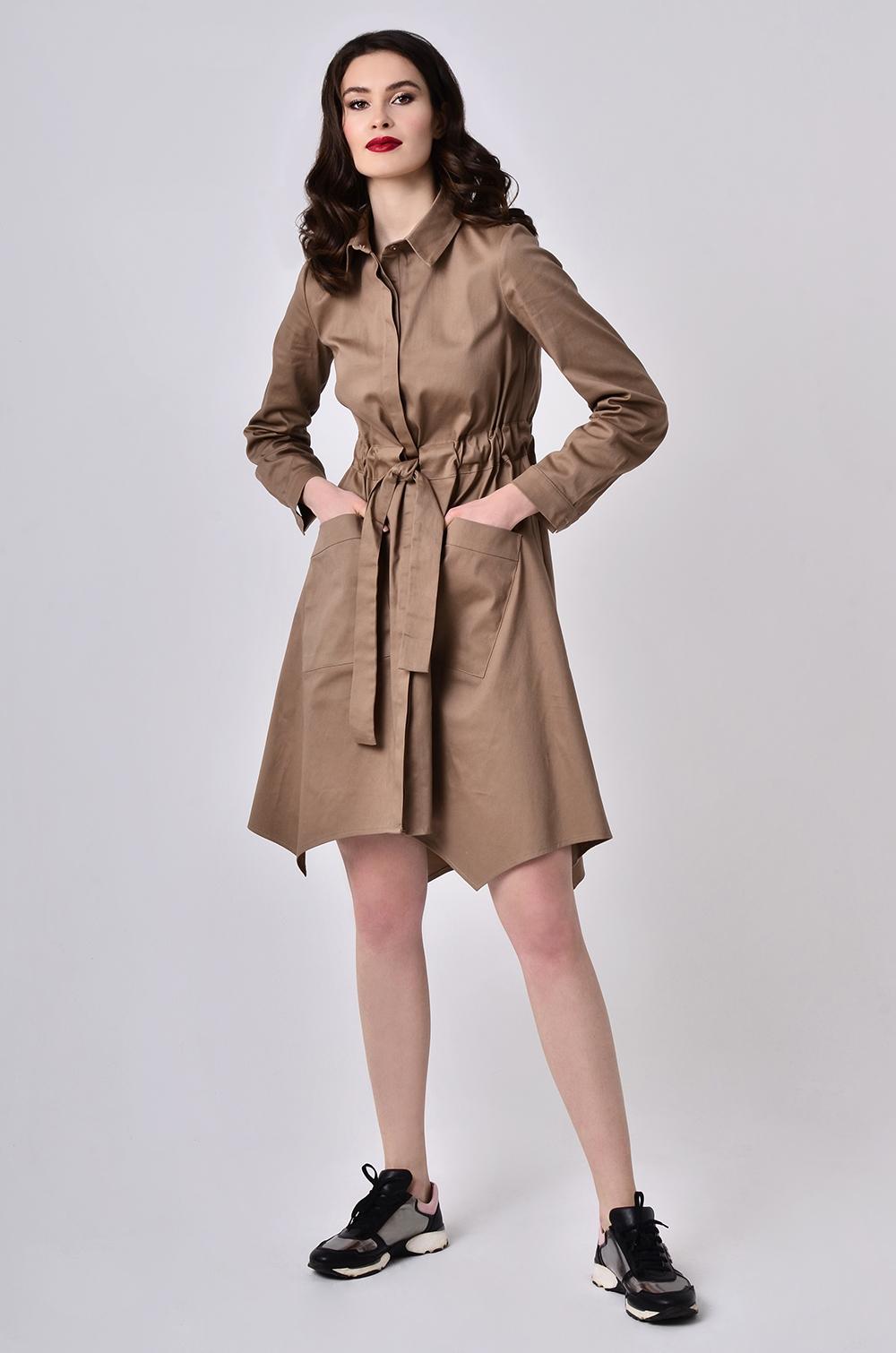 Сукня-халат з поясом-кулісою Бежева Lipar