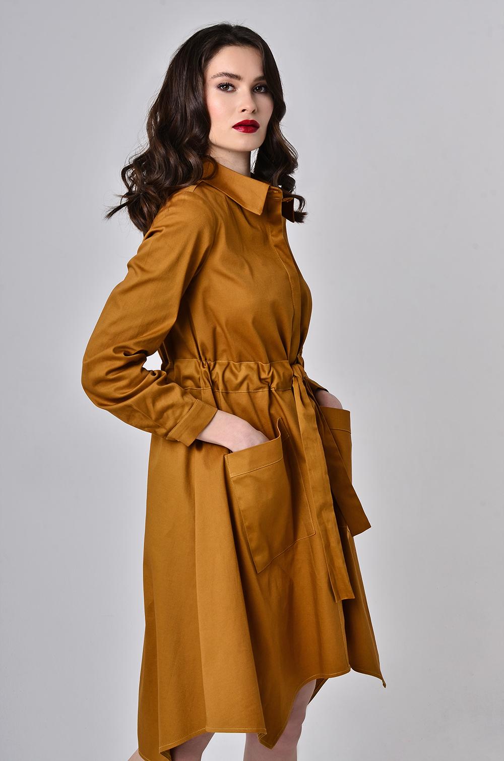 Сукня-халат з поясом-кулісою Гірчиця Lipar