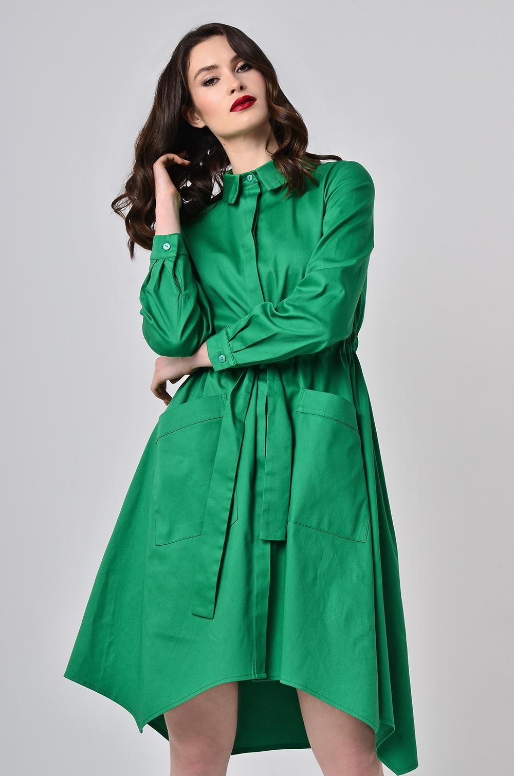 Сукня-халат з поясом-кулісою Зелена Lipar