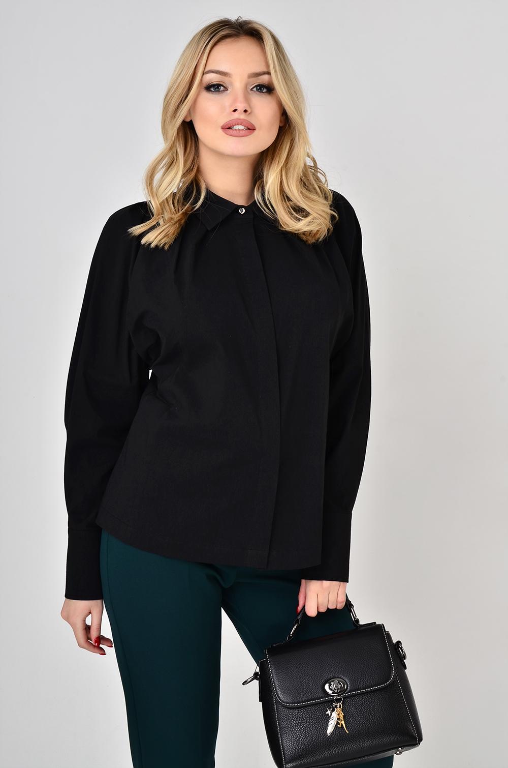 Блуза з декоративним драпіруванням Чорна Lipar