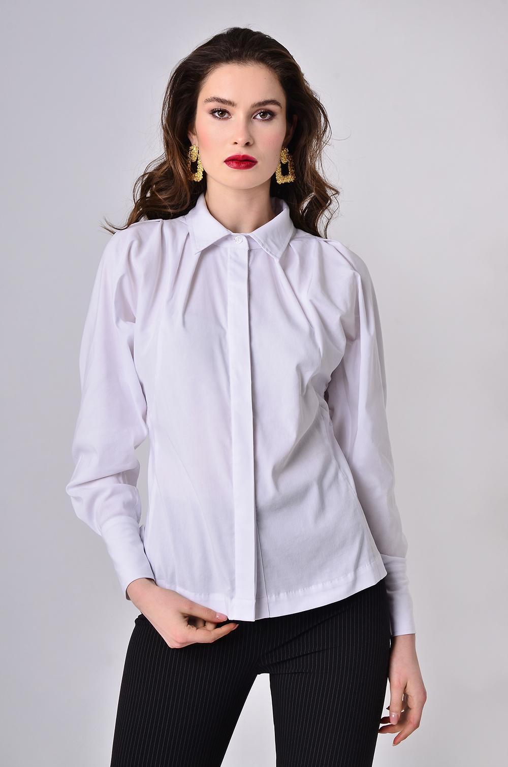 Блуза з декоративним драпіруванням Біла Lipar