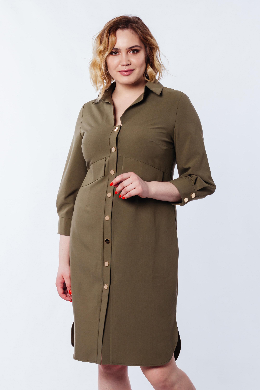 Платье-рубашка с фонариками 3/4 Хаки Батал Lipar