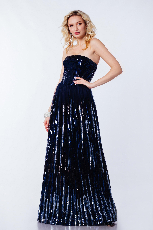 Платье вечернее ''вечерний дождь'' Синее 3366