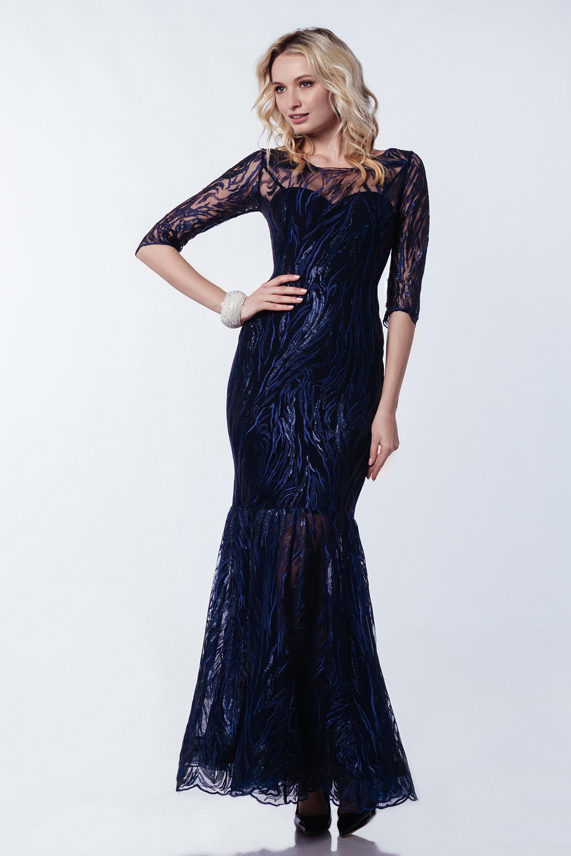Вечернее платье Lipar с рукавами ''русалка'' Синее 3371